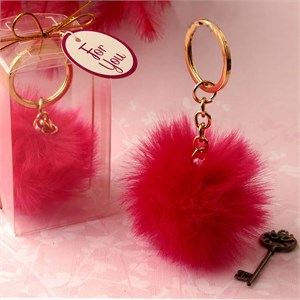 Fluffy Hot Pink Pom Pom with Gold Key Chain