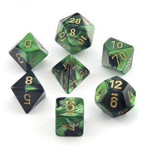Chessex Gemini Black And Green With Gold Polyhedral 7 Dice Set