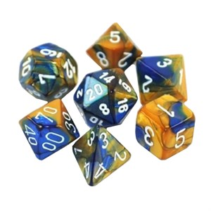 Chessex Gemini Blue And Gold With White Polyhedral 7 Dice Set
