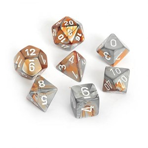 Chessex Gemini Copper Steel With White Polyhedral 7 Dice Set