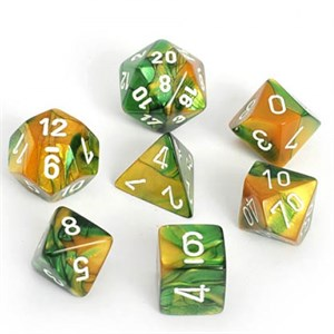 Chessex Gemini Gold And Green With White Polyhedral 7 Dice Set