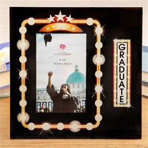 Glass Graduate 4 x 6 Frame with Marquee Design