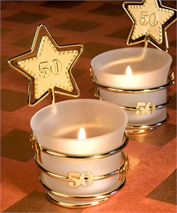 Gold Star Design 50th Anniversary Candle Holder