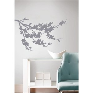 Gray Silhouette Blossom Branch Decal