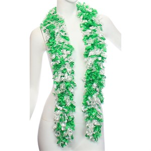 Faux Green And White Featherless Boa (6', 185 grams)