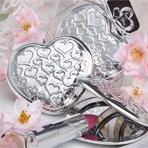 Handy Heart Shaped, Heart Design Mirror Compacts