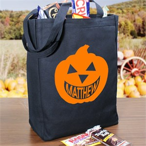 Happy Pumpkin Personalized Trick Or Treat Bag