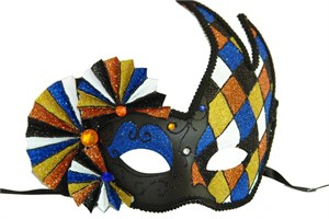 Harlequin Black And Blue Mask With Fans
