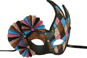 Harlequin Black And Brown Mask With Fans