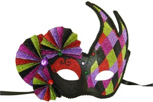 Harlequin Black And Red Mask With Fans