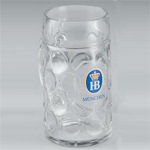 Hofbräuhaus 1.0 Liter Glass Masskrug Mugs