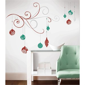 Holiday Scroll Decal w-Glitter And Metallic Inks