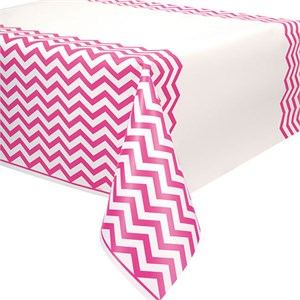 Hot Pink Chevron Plastic Table Cover - Rectangle