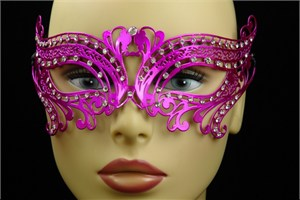 Hot Pink Metal Venetian Birds Eye Mask