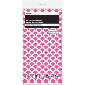 Hot Pink Scallop Plastic Table Cover - Rectangle