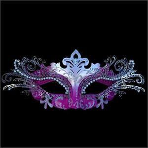 Hot Pink And Silver Decorative Metal Venetian Mask