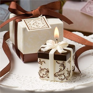 Ivory And Brown Gift Box Collection Candle Favor