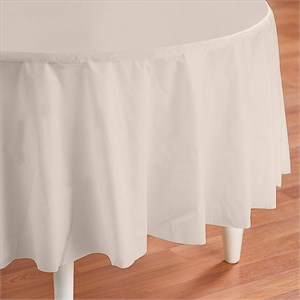 Ivory Plastic Table Cover - Round