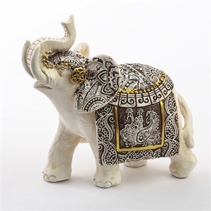 Ivory with Sepia Accents Elephants Medium Size