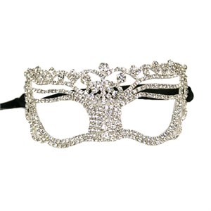 Jeweled Topped Rhinestone Venetian Mask