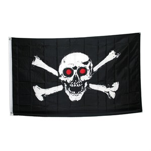 Jolly Roger With Red Eyes Pirate Flag