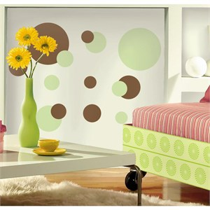 Just Dots Green-Brown Peel And Stick Decal