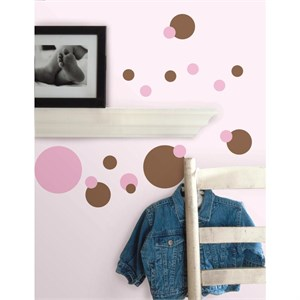 Just Dots Pink-Brown Peel And Stick Decal