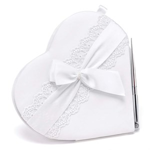 Lace Allure Heart Guest Book And Pen Set