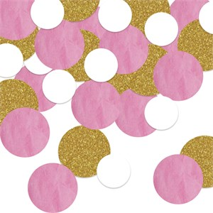 Large Sparkled Pink And Gold Dots