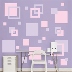Lavendar And Pink Squares REALBIG Wall Decal