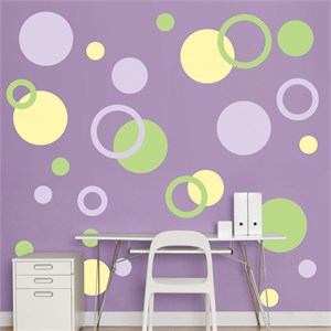 Lavender, Light Green And Light Yellow Polka Dots