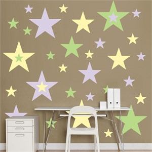 Lavender, Light Green And Light Yellow Stars Decal