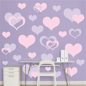 Lavender And Pink Hearts REALBIG Wall Decal