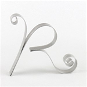"Letter ""R"" Metal Letter Cake Top - 5"" Scroll"