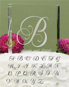 "Letter ""T"" Script Initial Cake Top"