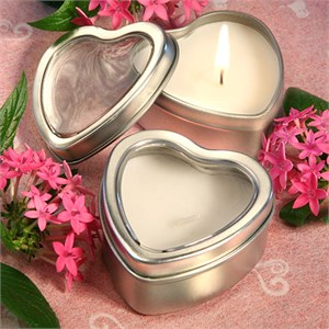 Light For Love Collection Heart Candle Favor Tins