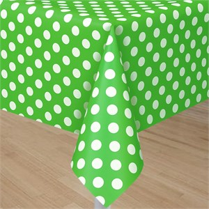 Lime Green Plastic Table Cover With White Polka Dots - Rectangle
