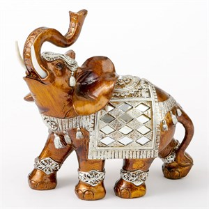 Mahogany with Silver Accents Elephant Large Size