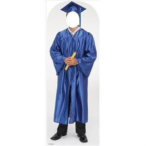 Male Graduate Blue Cap And Gown Standin Lifesized Standup