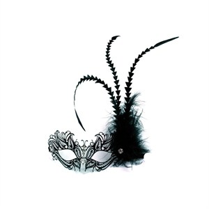 Black Venetian Mask With Jewel Nose-Black Feathers