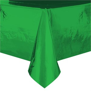 Metallic Green Plastic Table Cover - Rectangle