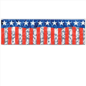 Red Blue And Silver Metallic Stars And Stripes Fringe Banner