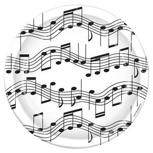 """Music Notes Paper Plates - 8 5/8"""""""