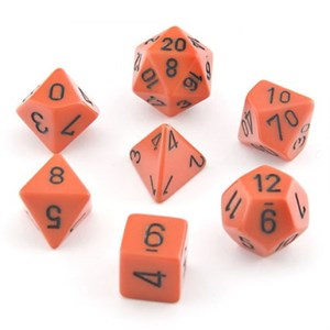 Opaque Orange With Black Polyhedral 7 Die Set