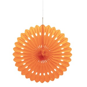 "Orange 16"" Tissue Fan Decoration"