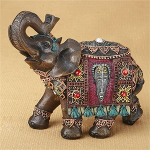 Ornate Indian Elephant with Colorful Blanket and Headdress 6 Inch
