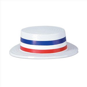 Red White And Blue Patriotic Plastic Skimmer Hat