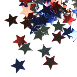 Red Silver and Blue Patriotic Stars Confetti