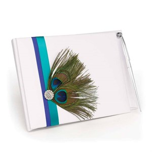 Peacock Guest Book With pen
