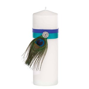 Peacock Plume Unity Candle